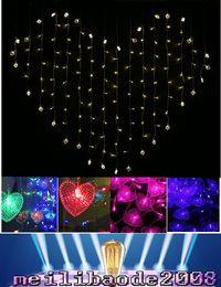 Wholesale Heart Shaped Holiday Lights - LED heart Shape String Curtain Light 220V and 110V LED Curtain Lights 124pcs LEDs 1.5M*1.2M Wedding, Christmas Decoration Light MYY