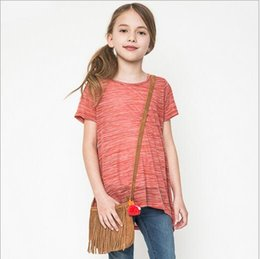 Wholesale Girl Candy Shirt - 2016 Teenagers Candy Color T-shirts Big Baby Girls Fashion Summer Shirts Junior Christmas Cotton Jumper Tops children's clothing