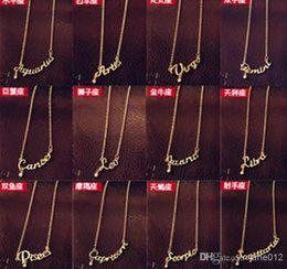 Wholesale Korean Sweater Sale - On Sale Fashion Jewelry 12 Zodiac Signs Letter Pendants Necklace Korean Women Ladies Chokers Sweater Chain Mix Wholesale free shipping