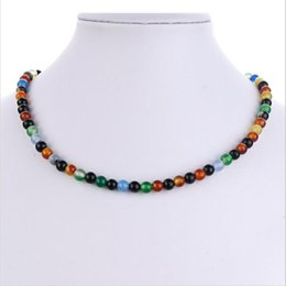 Wholesale 6mm Jade Beads Necklace - 6mm Natural black agate beads necklace Fashion jewelry For women High quality 40 cm   16 inch necklace