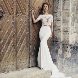 Wholesale Mermaid Bowknot Wedding Dresses - High Neck Lace Top Two Pieces Mermaid Soft Satin Wedding Dress Sexy Sheer Bodice Design Bowknot Back Bridal Dress vestidos de
