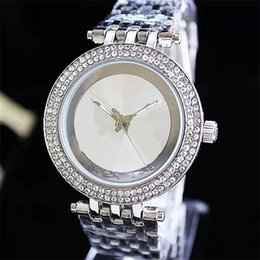 Wholesale Round Row - Luxury watch Double Row Rhinestones Dial Large letters Ladies Watch Alloy watch men and women fashion Quartz Watches Free Shipping