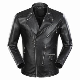 Wholesale Mens Long Coat Pattern - SS17 Hot Mens Desinger Faux Leather Punk jacket Rhinestone P9082 Coats PU Leather Slim fit Sporty Style Men Casual Jacket M-3XL