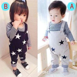 Wholesale Boys Long Sleeve Overall - Baby Boy Girl Toddler 2PCS Set Top fashion long sleeve T-shirt+Bib Pants Jumpsuit 2016 new arrival set Overall casual Outfits free shipping