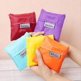 Wholesale Storage Bags Waterproof Cheap - Candy Color Reusable Eco Friendly Shopping Bags Waterproof Tote Bags Foldable Storage Bags Wholesale Cheap Handbags for Women Lady
