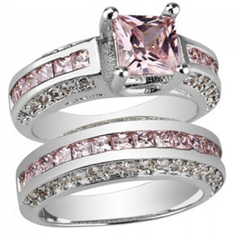 Wholesale White Gold Ring Mens - Brand New Womens Mens White Gold Planted Copper Couple Rings with CZ 1Pair Free Shipping[GE01198]