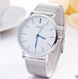 simple watches for men Promo Codes - Fashion Casual Watches Simple Quartz Gold Silver Net Strap Watches Geneva Watches Quartz Wrist Watch for Men DHL FREE