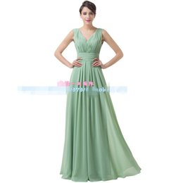 Wholesale Olive Stock - 2016 In Stock Real Image Long Chiffon Bridesmaid Dresses V-neck Ruched Bodice Formal Wedding Party Evening Gown