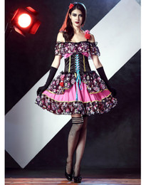 Wholesale Day Dead Skulls - Cosplay dress Day of the Dead Senorita Costume  Spanish Lady Day Of Dead costume 2 style cartoon skull print dress mini dress and long dress