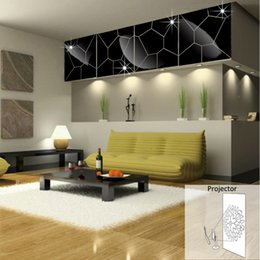 Wholesale 3d Stickers Puzzles - Mirror Cracks backdrop paste geometry puzzle three-dimensional crystal projector living room entrance new 2016 European and American