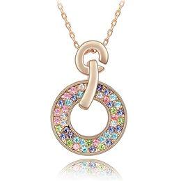 Wholesale Swarovski Jewelry Rose Gold - Bridal Necklace With Rhinestone Crystal Necklaces Pendant Fashion Jewelry make with Swarovski Elements 18K Rose Gold Plated 2881