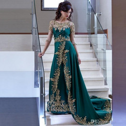 Wholesale Embroidery Long Sleeve Lace Shirt - Arabic Dubai Hunter Green Evening Dresses Sheer Long Sleeves Gold Lace Appliqued Embroidery Beaded Celebrity Prom Dress Formal Party Gowns