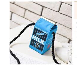Wholesale Mini Milk Cartons - Cute Stereo Mini Messenger Bags Milk Bag Makeup Cartoon Cartons Bag Women Fashion Letter Canvas Shoulders Bag Sac