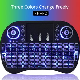 Wholesale Wireless Keyboard Backlit - Fly Air Mouse Bluetooth RII I8 Three Colors Backlit Wireless Keyboard Multi-Media Remote Control Touchpad Handheld for X96 T95Z T95m int box