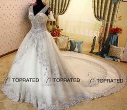 Wholesale Wedding Dress Swarovski Crystals Pearls - 2016 New Luxury Crystal Zuhair Murad Wedding Dresses Lace V Neck Sheer Strap SWAROVSKI Bridal Gowns Cathedral Train
