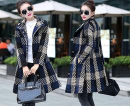 Wholesale Plus Size Trench - Fashion Plus Size Women Plaid Wool Coat Korean Loose Oversize Woolen Outwear Midi Wool Blends Trench Coat Autumn Winter Overcoat Size XL-4XL