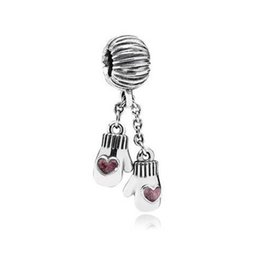 Wholesale threading gloves - 2017 Summer New 925 Sterling Silver Pink Enamel Christmas Gloves Dangle Thread Beads Jewelry Fits Pandora Bracelets DIY Making HB635