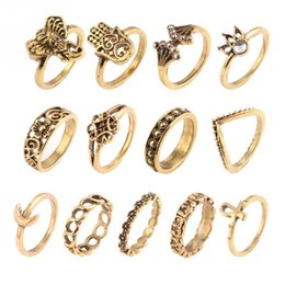 Wholesale Moon Stone Rings - 13pcs Set 15mm-17mm Bohemian style Lady Suit Ring Old silver Old gold Elephant hand Ring Fatima moon Diamond Carving Ring