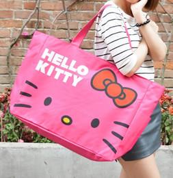grande olá gatinho Desconto Bonito Olá Kitty Rose / rosa / preto saco de viagem Lona de ombro tamanho grande Saco de Mãe saco de Compras B254 Largura 50 cmXAltura38 cmXBase 14 cm 254-KT01