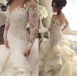 Wholesale Long Ruffle Skirt Gown - 2018 Vintage Luxury Ball Gown Mermaid Ruffles Wedding Dress V-Neck Handmade See Through Back Court Train vestido de noiva Custom Made