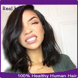 Wholesale remy half wigs - Natural Straight Full Lace Wigs   Short Lace Front Wigs Human Hair 8A Unprocessed Virgin Brazilian Lace Wig For Black Women With Baby Hair