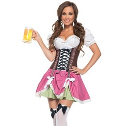 Wholesale Hot Sexy Women Cosplay - Wholesale-Newest Hot Sexy Halloween Costumes For Women Swiss Girl Patchwork Oktoberfest Costume LC8933 Deguisement Adultes Cosplay Femme