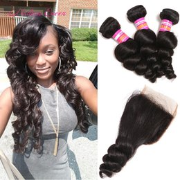 Wholesale Human Weaving Bulk - Bulk Malaysian Weave Wholesale Loose Curl human hair bundle with lace closure 1 PC Malaysian Loose Wave Closure With 3 Bundles Hair Weaves