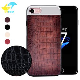 Wholesale Plastic Crocodiles - For Iphone Phone Case for iPhone X Luxury 4 colors Vintage Crocodile pattern PU leather and PC and TPU edge Back cover for iPhone 6 7 8 plus