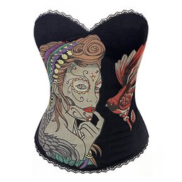 Wholesale Mixed Corsets - New Hot Selling Girl's Women's Lady Sexy Strapless Underbust Corset Sexy Bustiers Floral Print Lingerie Size:S-5XL Mix sell Free Shipping