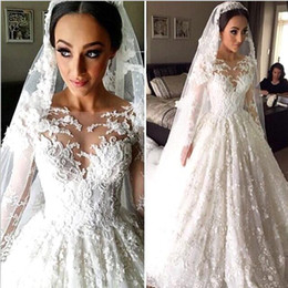 Wholesale Indian Wedding Dress Train - Vestidos De Noiva Vintage Indian Muslim Lace A Line Wedding Dresses 2016 With Long Sleeves Sheer Appliques Bridal Gowns Arabic BA2810