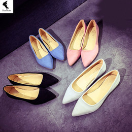 Wholesale Pvc Marketing - Shoes Women Casual Factory Pelt Formal Solid Boat Comfort Flats Fur Leisure Slip on Low Heeled Blue White Office Direct marketing