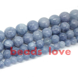 "Wholesale Gold Loose Beads - Free Shipping Natural Stone Angelite Loose Spacer Beads 6 8 10 12mm Strand 15"" For Jewelry Making-F00270 jewelry making"