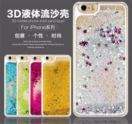 Wholesale Moving Case Iphone - Liquid Case Colorful Moving Stars Liquid Glitter Quicksand 3D Bling Phone Case Cover For Apple Iphone samsung Shining Star