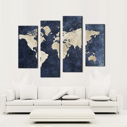 Wholesale Print Backgrounds - 4 panel Blue Map Canvas Painting World Map With Mazarine Background Picture Print On Canvas Wall Art For Home Modern Decoration