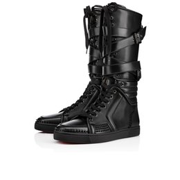 Wholesale Printing Items - New Items!Mens black genuine leather sports boots cool man flat red bottom Sporty Dude Flat zipper with nails,buckle knee boots for man