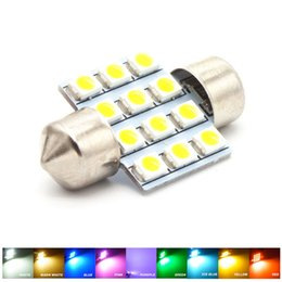 Wholesale Dome Light Dc 12v - 31MM 12 SMD 3528 LED White Warm Green Blue Pink Red Purple Iceblue Yellow Light Dome Map Door Festoon 3022 Bulb DC 12V