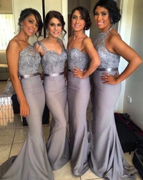 Wholesale Grey Silk Gown - Silver Grey Mermaid Long Bridesmaid Dresses with Applique Lace Ribbon One-Shoulder Vestidos Lady wear Wedding Formal Party Gowns 2016