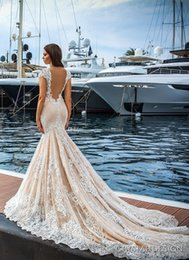 Wholesale Custom Designed Fitted Caps - blush lace mermaid wedding dresses 2017 crystal design vestido de novia cap sleeves deep plunging v neck fit and flare wedding gowns