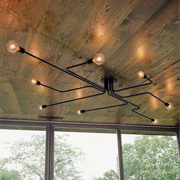 Wholesale Wrought Iron Ceiling Lights - Wrought iron 4 heads 6 heads 8 heads Multiple rod ceiling dome lamp creative personality retro nostalgia cafe bar ceiling light EMS Ship