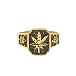 Wholesale Stainless Steel Hot Pots - 316L Stainless Steel Hot Vintage 24K-Yellow-Gold-Plated Hemp Mens Ring POT Leaf Herb Ring Size 8-11 High Quality