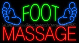 "Wholesale Massage Center - Foot Massage Neon Sign Custom Feet Health Care Center Relaxation Advertisement Sign Real Glass Tube LED Sign 37""X20"""