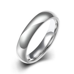 Wholesale Wholesale Men Diamond Ring - 4mm Titanium Band Brushed Wedding Rings Solid fashion ring glossy 316L stainless steel rings for women & men Valentine's Day TGR002