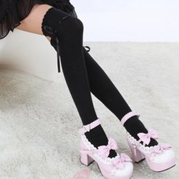 Wholesale Thigh High Socks Sales - 2017 Hot Sale Fashion Women Bow Over Knee Thigh High Soft Cotton stretch Socks Long Knitted Boot Hosiery Party Vaction Socks