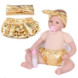 Wholesale Diaper Cover 2t - New Baby Bloomers Gold Shorts + Headband 2pcs Set Ruffle Leather gold bloomer Girl PP pants bloomer Pants Infant Diaper Cover with headwear