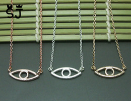 Wholesale Wholesale Gold Hamsa Charms - 10PCS- N051 Gold Silver Hamsa Hand Evil Eye Necklace Open Line Devil Eye Necklaces Simple Fortunate Turkish Eye Necklace