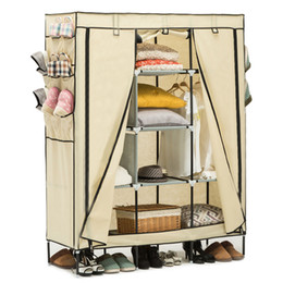 "Wholesale Wardrobe Storage - 69"" Wardrobe Portable Closet Storage Organizer Clothes Shoe Rack Shelves Beige"