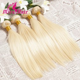 Wholesale European Straight Virgin Hair - 8A Grade Straight Shinny Blonde European Human Hair Dyeable Human Hair Weaves with Machine Double Weft Unprocessed Virgin Blonde Hair