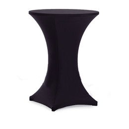 Wholesale Table Lycra - 10Piece Wholesale Cocktail Table Cover Lycra Spandex Stretch Tablecloth For Bar Bistro Wedding Party Event Decoration