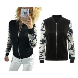 Wholesale Winter Coat Women Small - Hot Autumn and winter stitching camouflage jackets Printed long-sleeved jacket fashion small Outerwear Women's Coats 0080