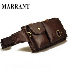 Wholesale Leather Travel Pouch Men - Vintage Genuine Leather Waist Packs Fanny Pack Fashion Men Messenger Small Bag Phone Pouch Bag Outdoor Travel Sports Waist Pack